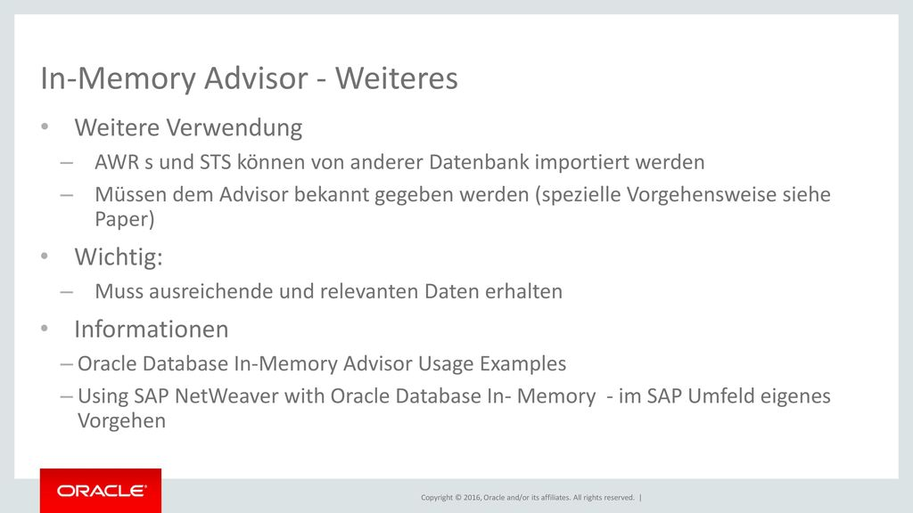 In-Memory Advisor - Weiteres