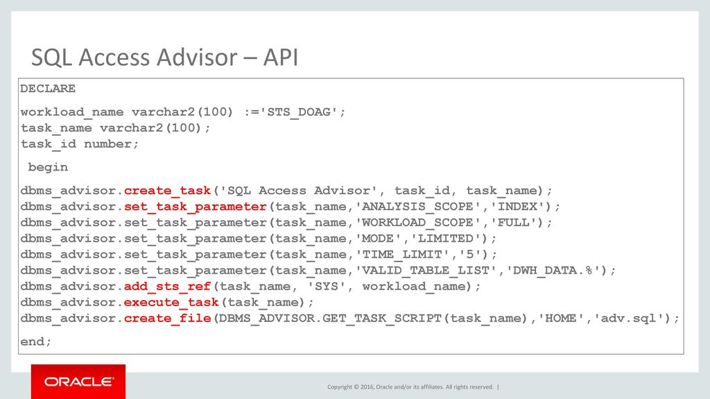 SQL Access Advisor – API