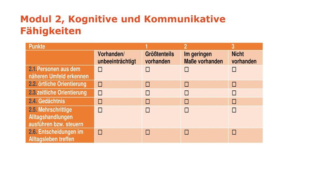 Modul 2, Kognitive und Kommunikative Fähigkeiten