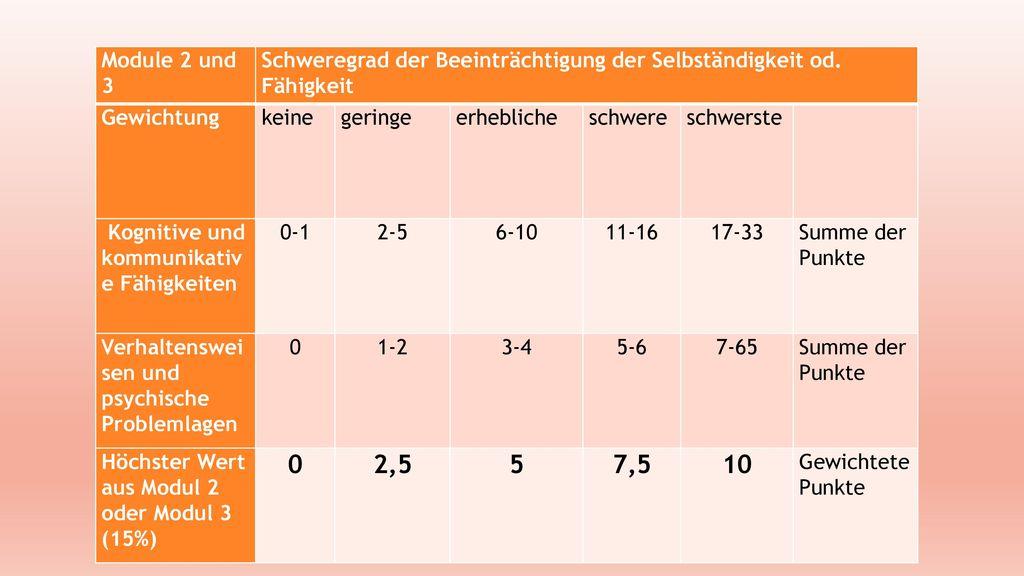Module 2 und 3 Schweregrad der Beeinträchtigung der Selbständigkeit od. Fähigkeit. Gewichtung. keine.