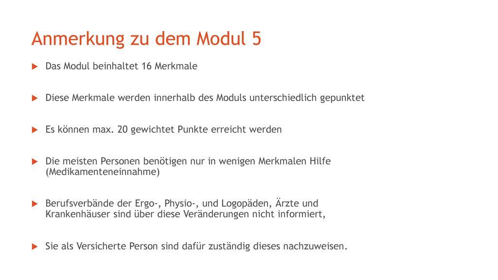 Anmerkung zu dem Modul 5 Das Modul beinhaltet 16 Merkmale
