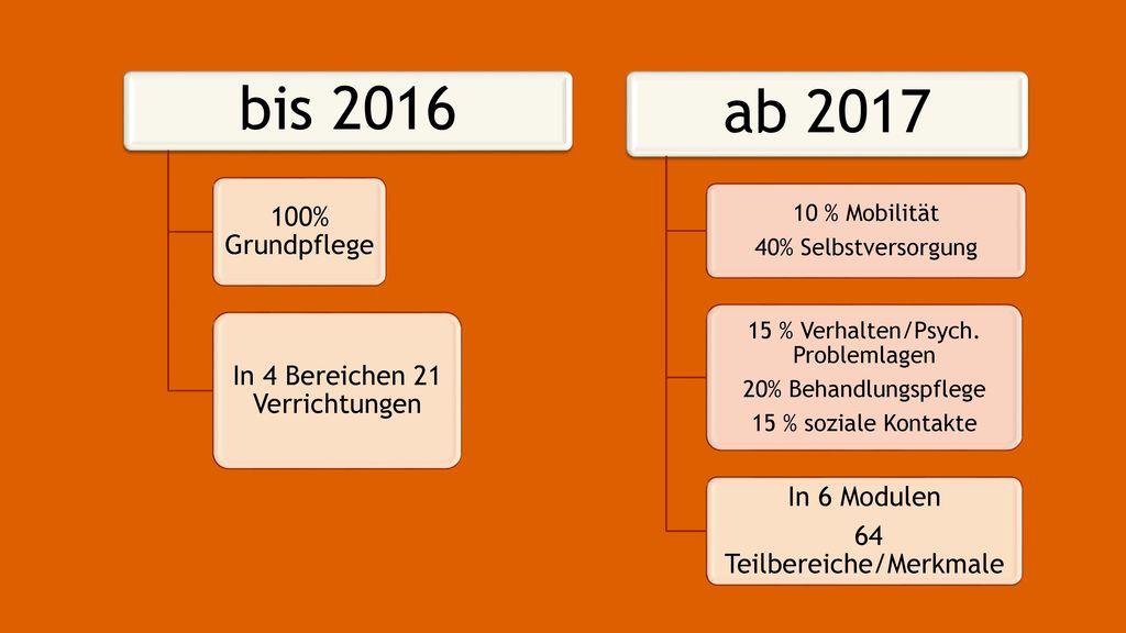 bis 2016 ab 2017 100% Grundpflege In 4 Bereichen 21 Verrichtungen