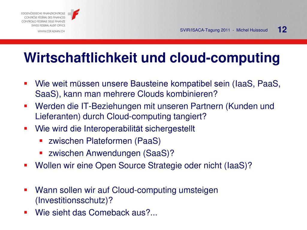 Wirtschaftlichkeit und cloud-computing