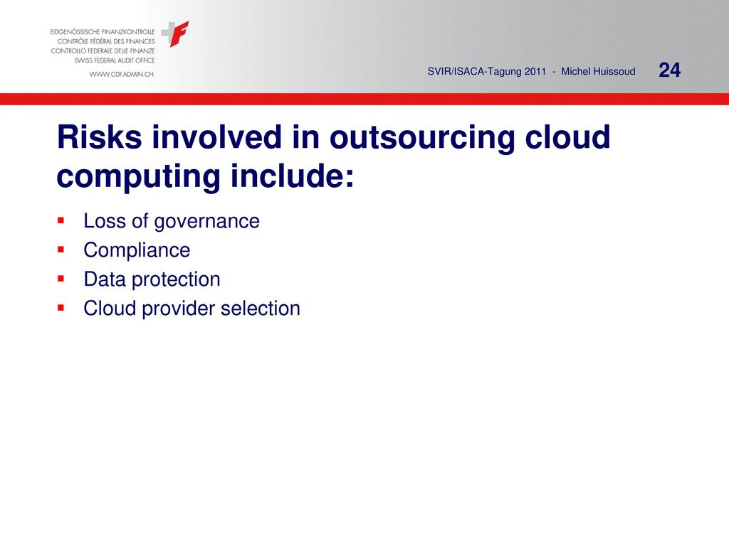 Risks involved in outsourcing cloud computing include: