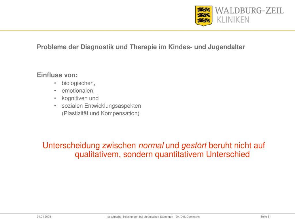 Probleme der Diagnostik und Therapie im Kindes- und Jugendalter