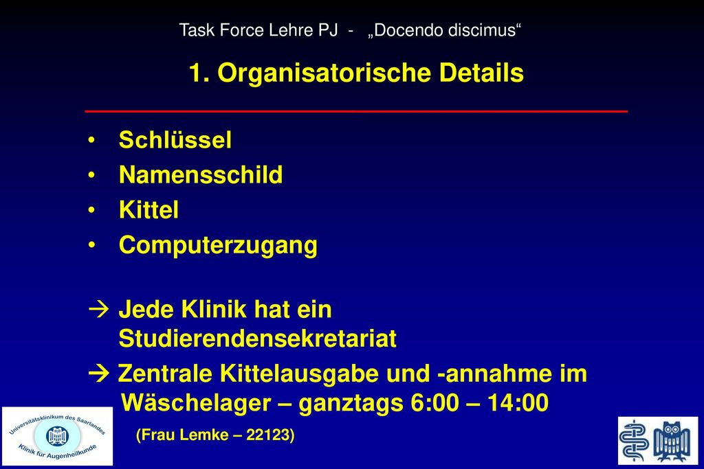 1. Organisatorische Details