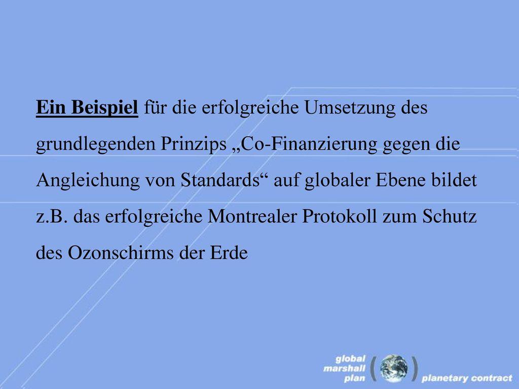 """Ein Beispiel für die erfolgreiche Umsetzung des grundlegenden Prinzips """"Co-Finanzierung gegen die Angleichung von Standards auf globaler Ebene bildet z.B."""