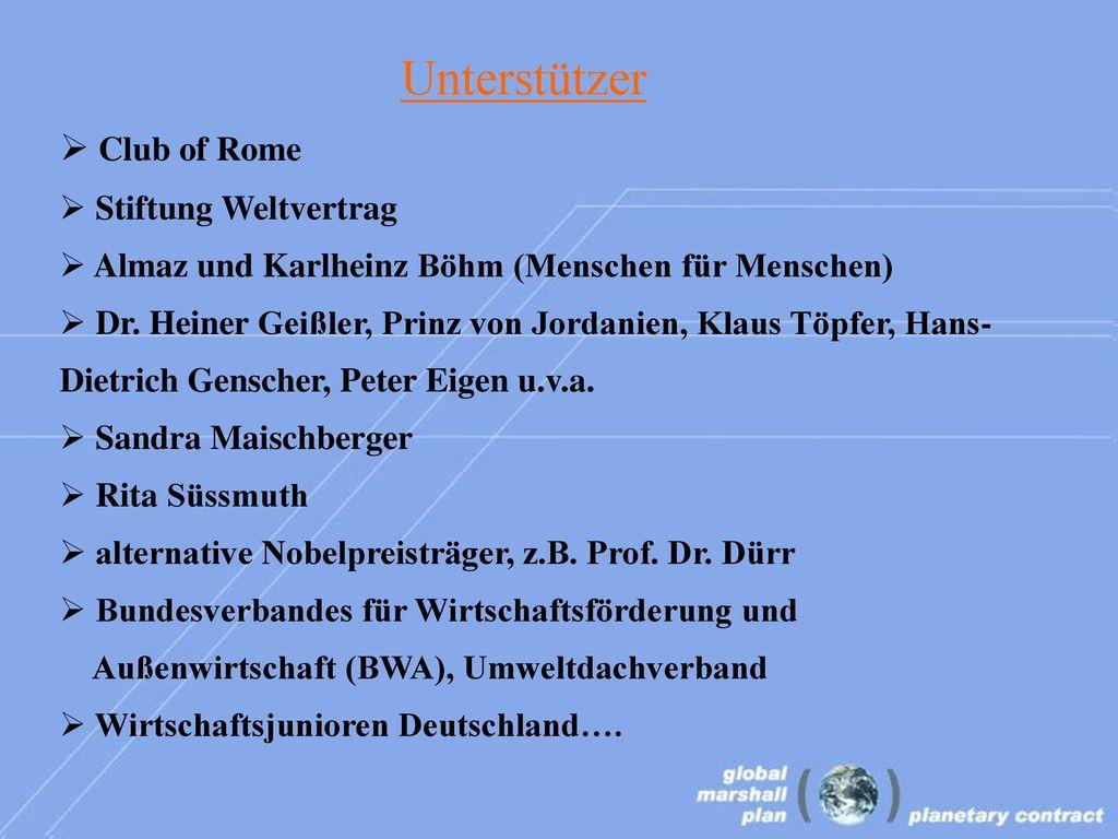 Unterstützer Club of Rome Stiftung Weltvertrag