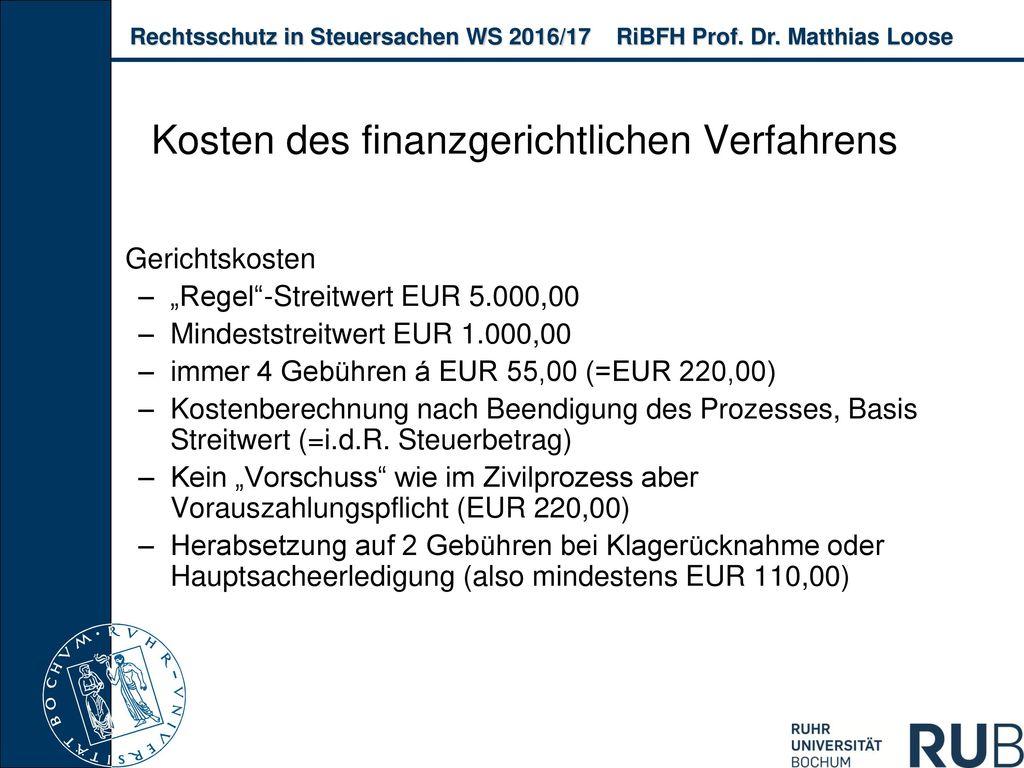 Kosten des finanzgerichtlichen Verfahrens