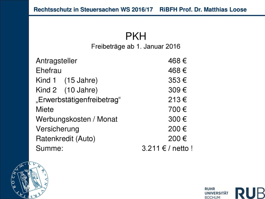 PKH Freibeträge ab 1. Januar 2016