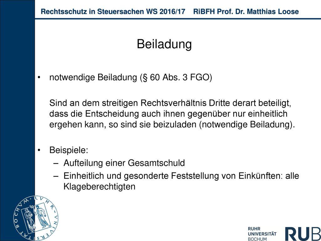 Beiladung notwendige Beiladung (§ 60 Abs. 3 FGO)