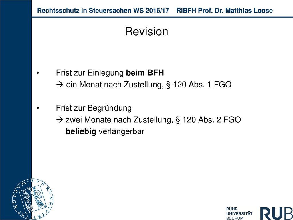 Revision Frist zur Einlegung beim BFH