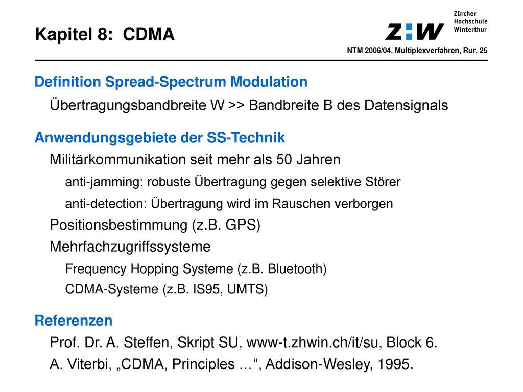 Kapitel 8: CDMA Definition Spread-Spectrum Modulation