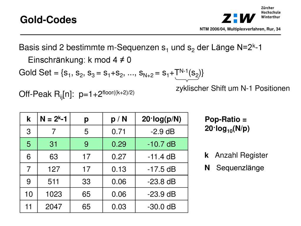 Gold-Codes NTM 2006/04, Multiplexverfahren, Rur, 34. Basis sind 2 bestimmte m-Sequenzen s1 und s2 der Länge N=2k-1.