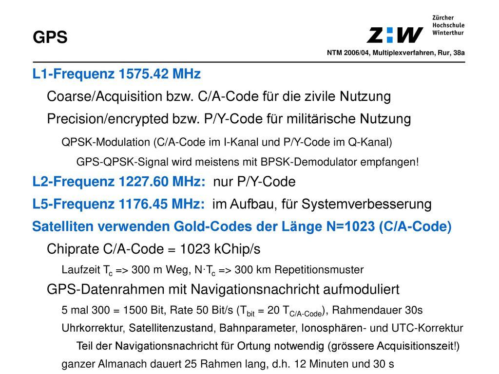 GPS NTM 2006/04, Multiplexverfahren, Rur, 38a. L1-Frequenz 1575.42 MHz. Coarse/Acquisition bzw. C/A-Code für die zivile Nutzung.