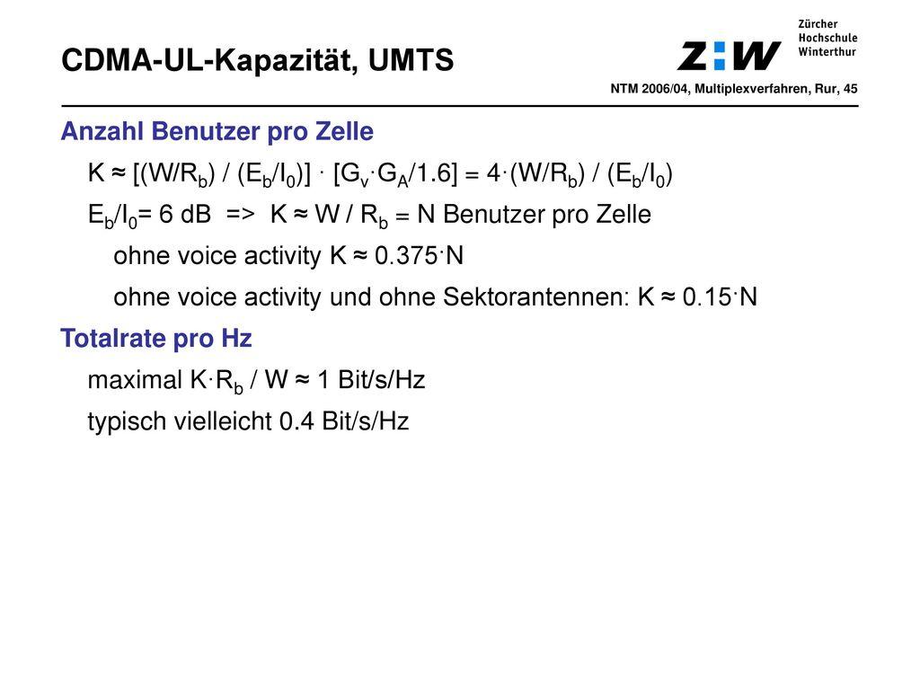 CDMA-UL-Kapazität, UMTS