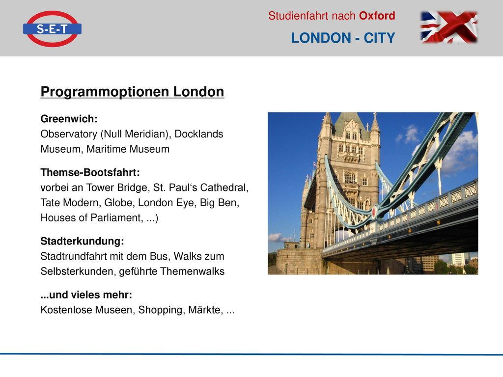 Programmoptionen London