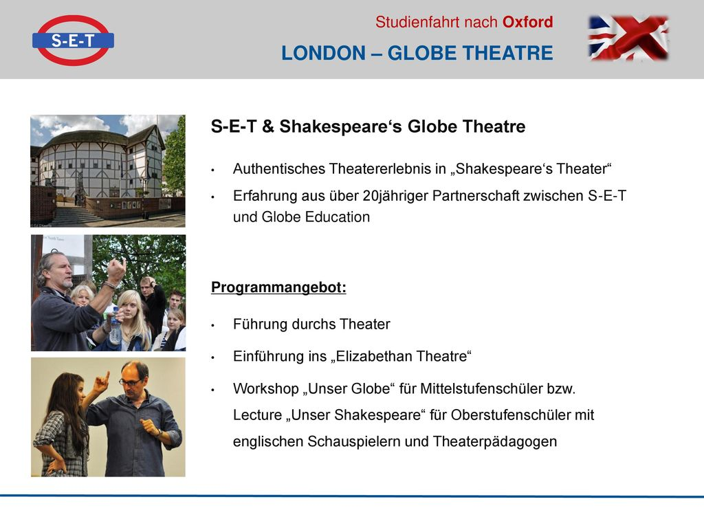 LONDON – GLOBE THEATRE S-E-T & Shakespeare's Globe Theatre