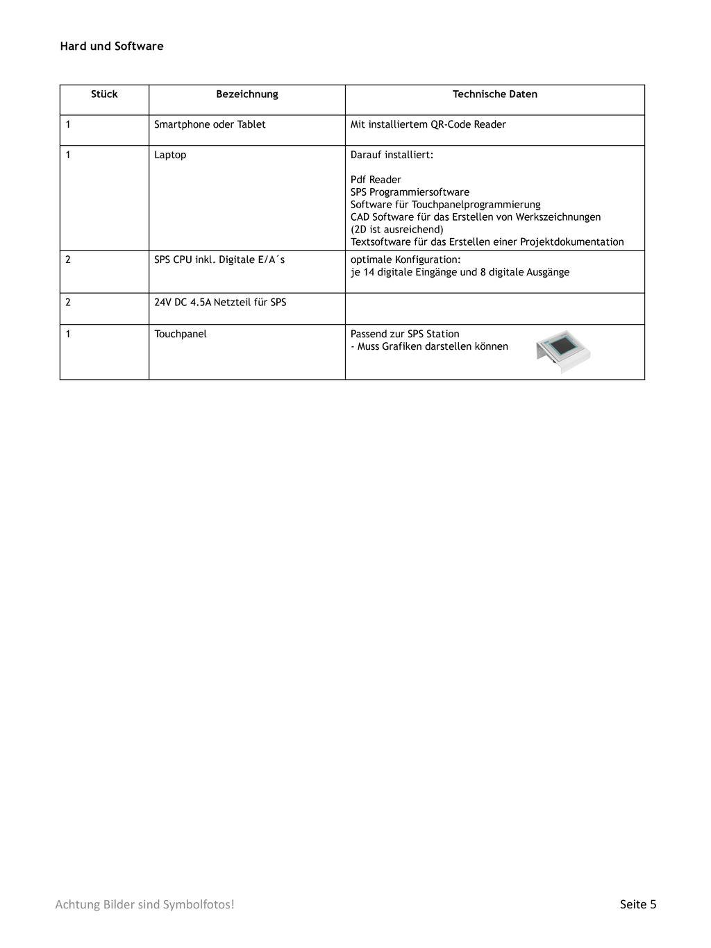 Hard und Software Stück Bezeichnung Technische Daten 1