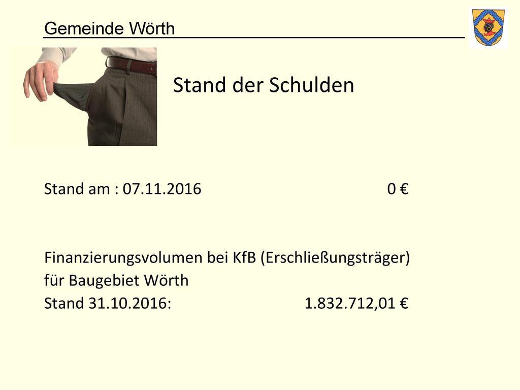 Stand der Schulden Stand am : 07.11.2016 0 €