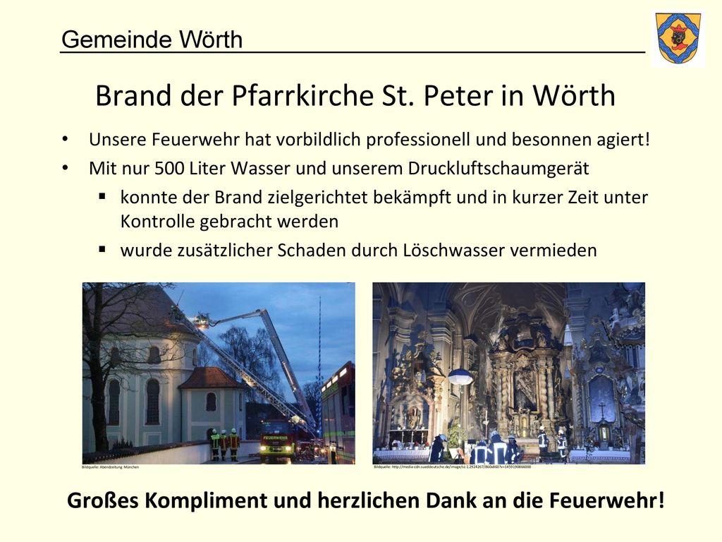 Brand der Pfarrkirche St. Peter in Wörth