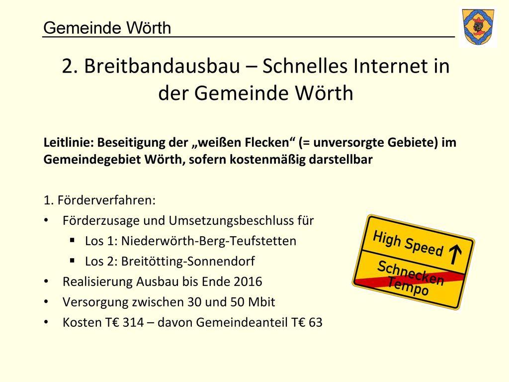 2. Breitbandausbau – Schnelles Internet in der Gemeinde Wörth