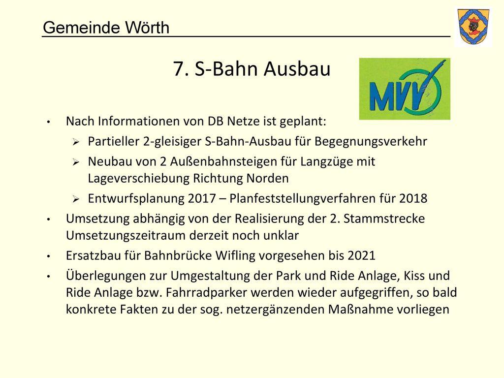 7. S-Bahn Ausbau Nach Informationen von DB Netze ist geplant: