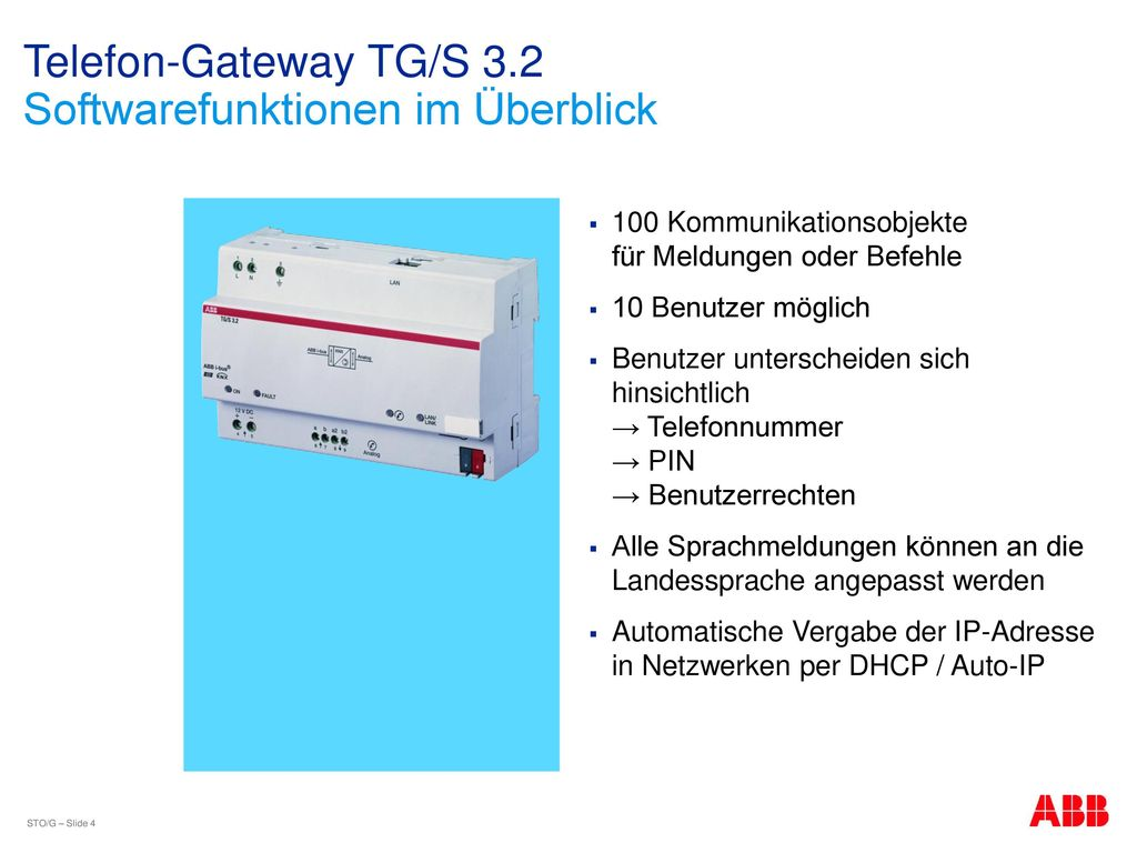 Telefon-Gateway TG/S 3.2 Softwarefunktionen im Überblick