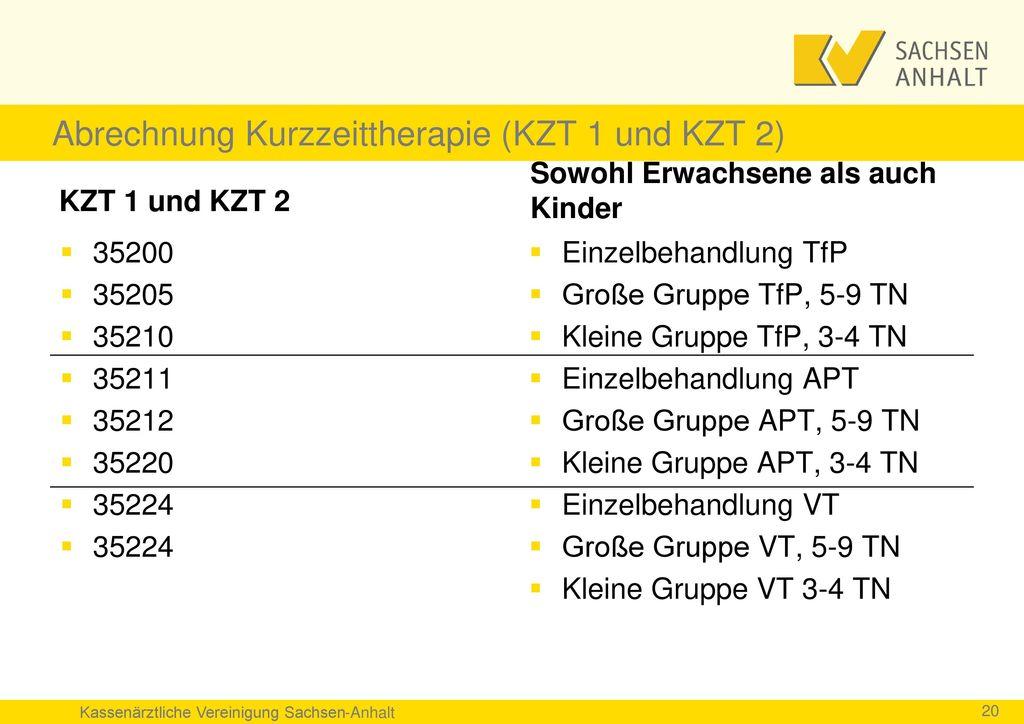 Abrechnung Kurzzeittherapie (KZT 1 und KZT 2)