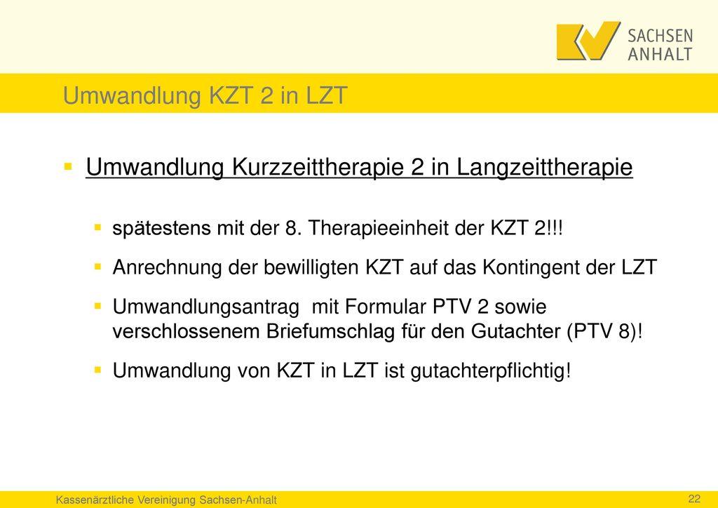 Umwandlung Kurzzeittherapie 2 in Langzeittherapie