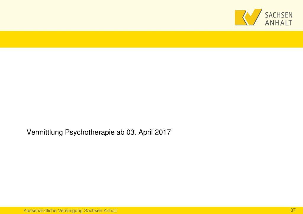 Vermittlung Psychotherapie ab 03. April 2017