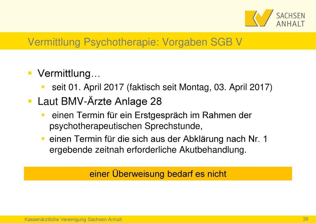 Vermittlung Psychotherapie: Vorgaben SGB V