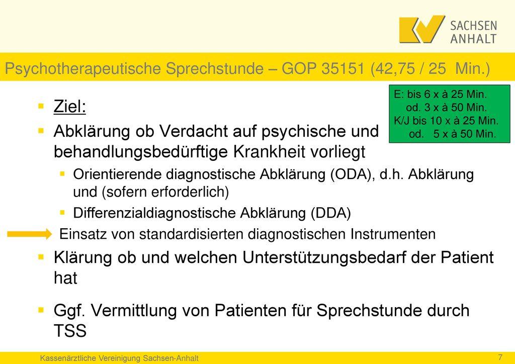 Psychotherapeutische Sprechstunde – GOP 35151 (42,75 / 25 Min.)