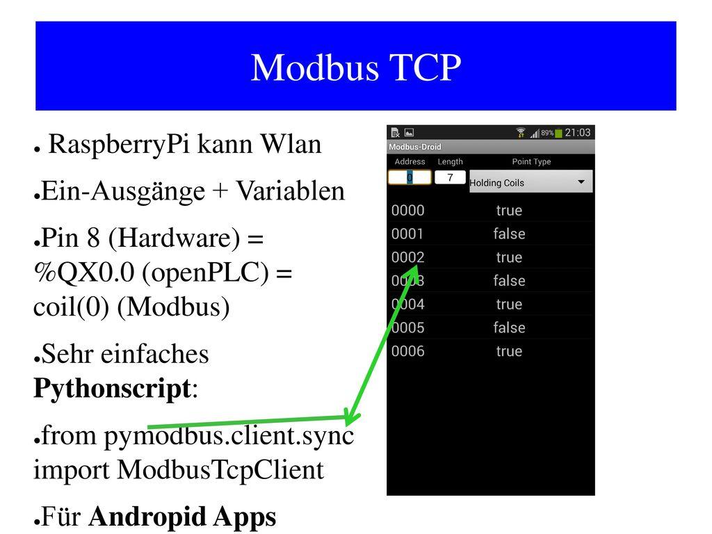Modbus TCP RaspberryPi kann Wlan Ein-Ausgänge + Variablen