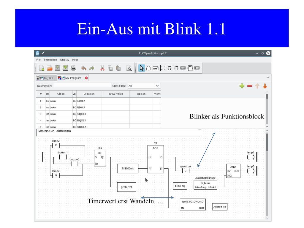 Ein-Aus mit Blink 1.1 Blinker als Funktionsblock