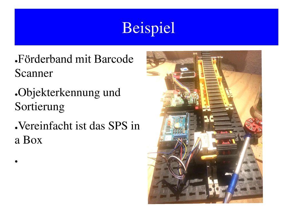 Beispiel Förderband mit Barcode Scanner Objekterkennung und Sortierung