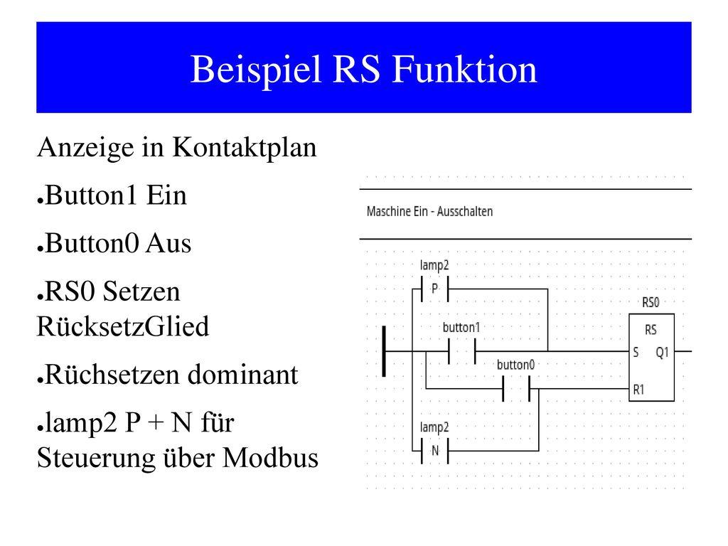 Beispiel RS Funktion Anzeige in Kontaktplan Button1 Ein Button0 Aus