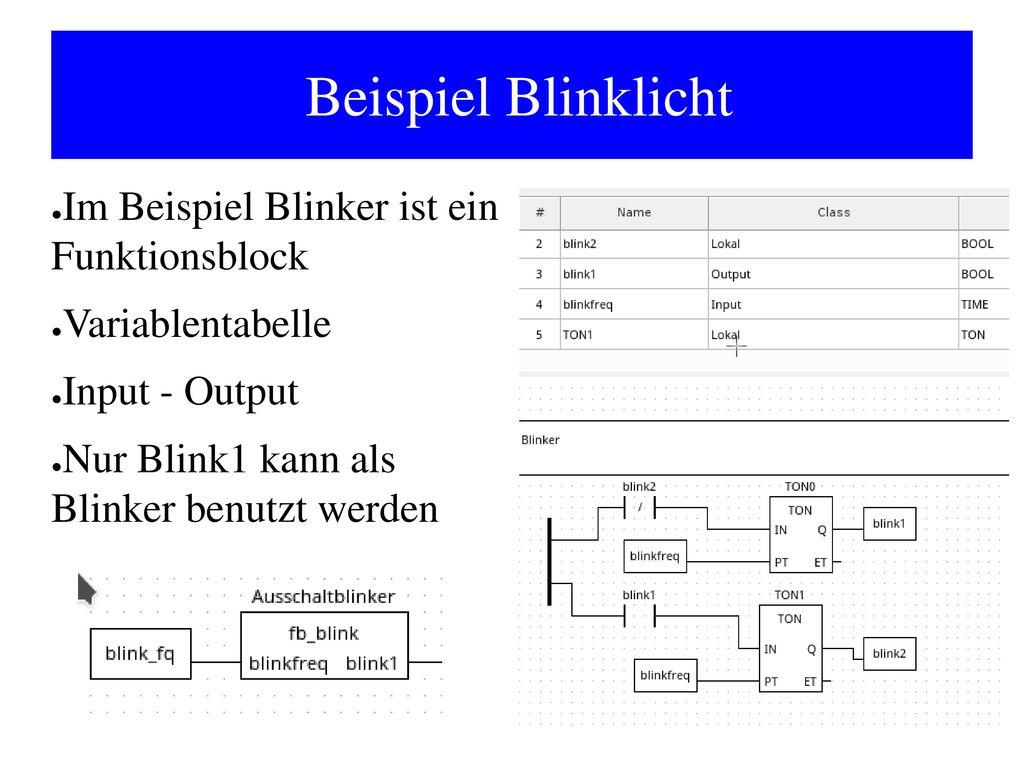 Beispiel Blinklicht Im Beispiel Blinker ist ein Funktionsblock