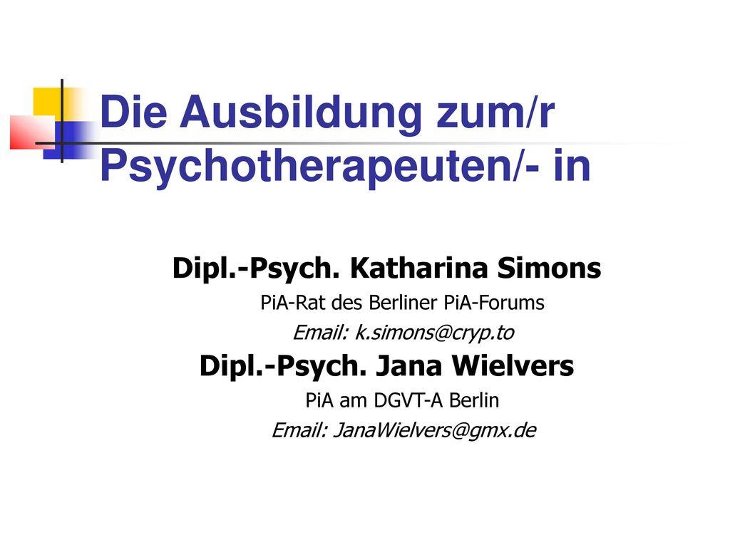 Die Ausbildung zum/r Psychotherapeuten/- in