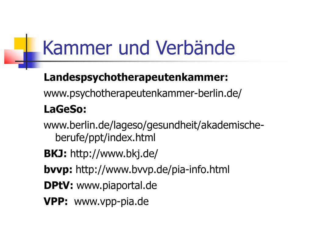 Kammer und Verbände Landespsychotherapeutenkammer: