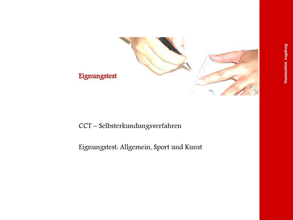Eignungstest CCT – Selbsterkundungsverfahren Eignungstest: Allgemein, Sport und Kunst