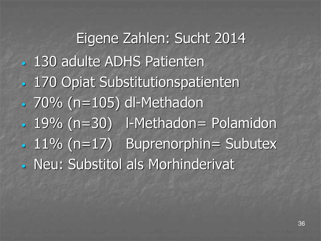 Eigene Zahlen: Sucht adulte ADHS Patienten. 170 Opiat Substitutionspatienten. 70% (n=105) dl-Methadon.