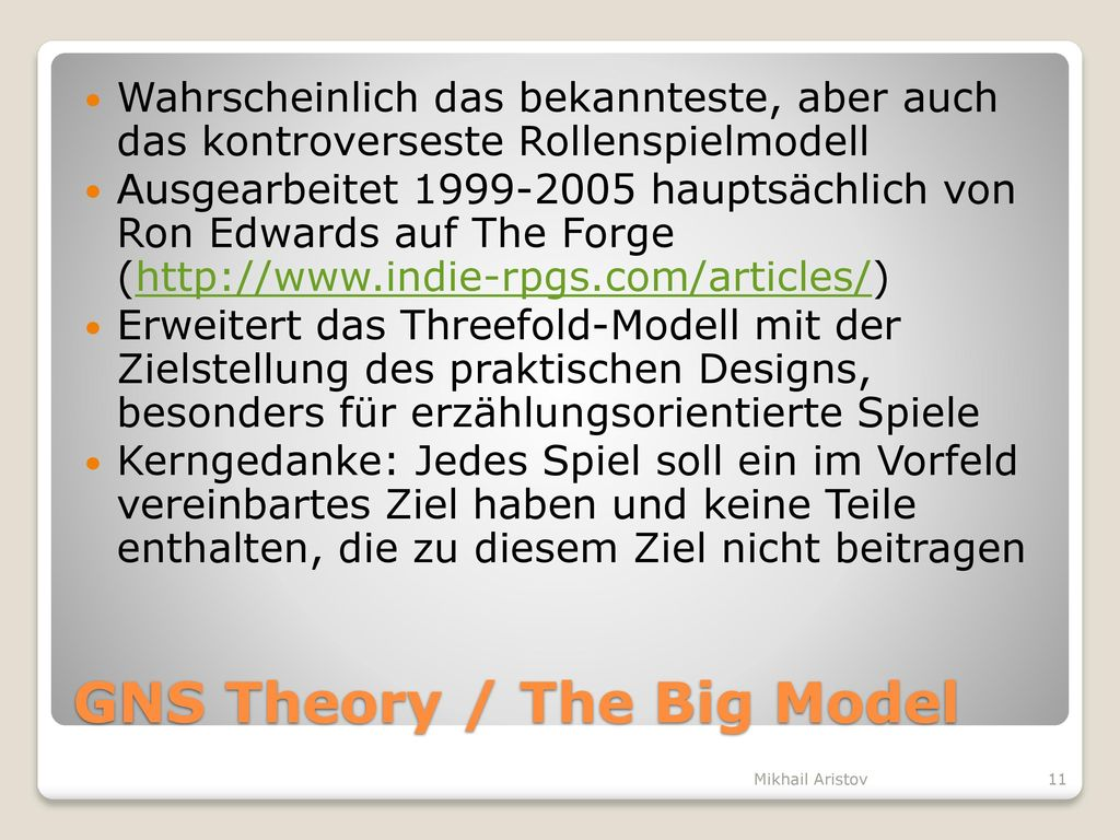 GNS Theory / The Big Model