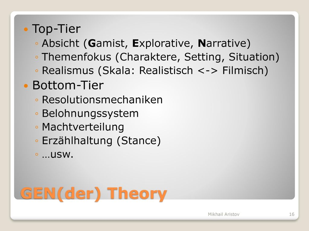 GEN(der) Theory Top-Tier Bottom-Tier