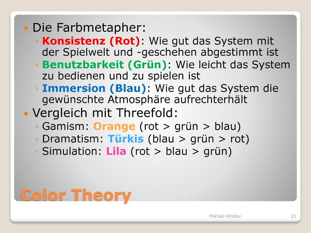 Color Theory Die Farbmetapher: Vergleich mit Threefold: