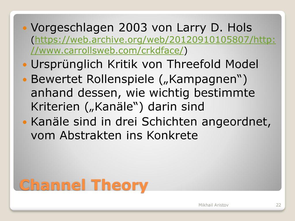 Vorgeschlagen 2003 von Larry D. Hols (https://web. archive
