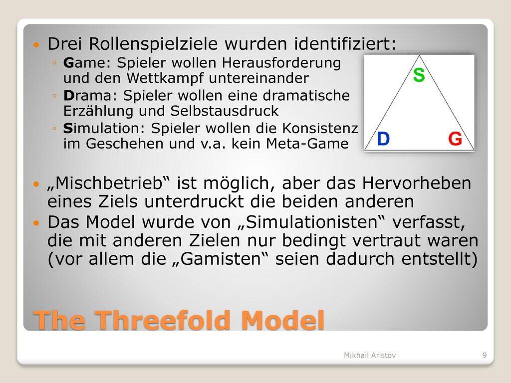 The Threefold Model Drei Rollenspielziele wurden identifiziert: