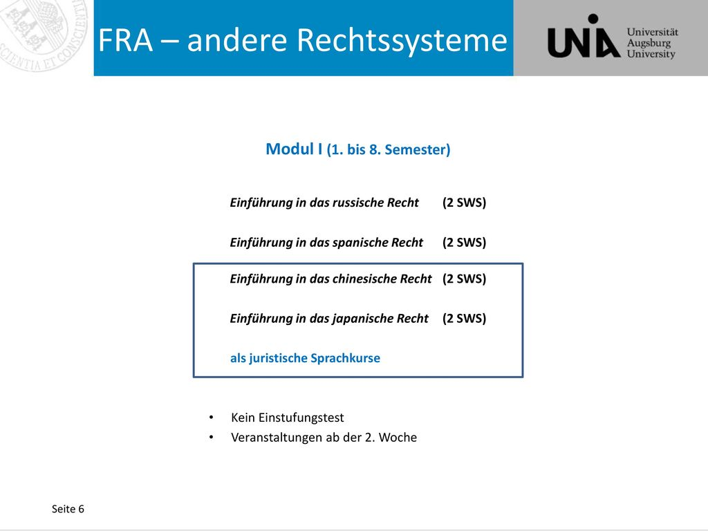 FRA – andere Rechtssysteme