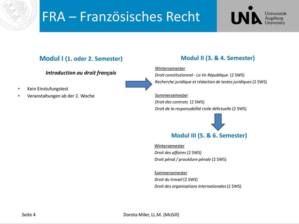 Modul I (1. oder 2. Semester) Introduction au droit français