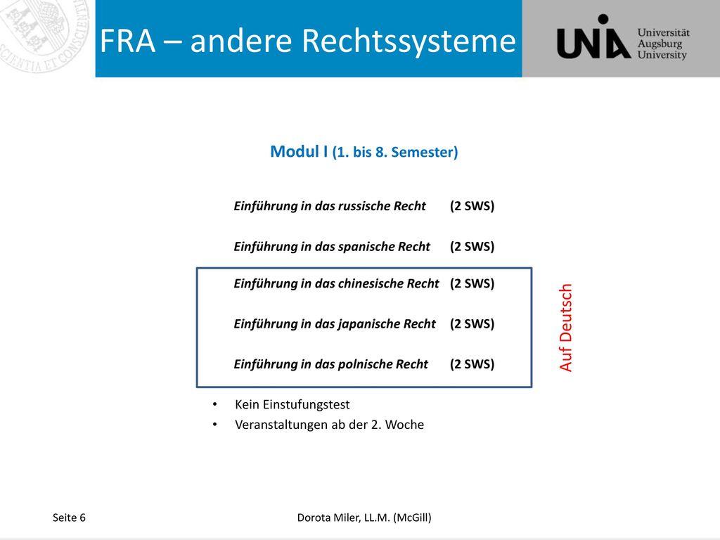 FRA – andere Rechtssysteme
